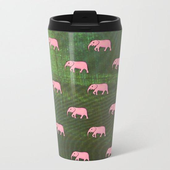 elephants on an abstract background 3 Metal Travel Mug