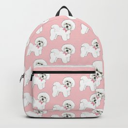 Bichon Frise pink bows christmas holiday themed pattern print pet friendly dog breed gifts Backpack