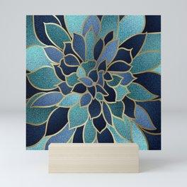 Festive, Floral Prints, Navy Blue, Teal and Gold Mini Art Print