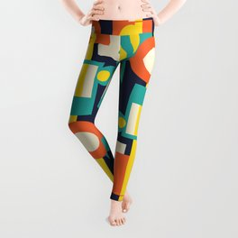 Funky Geometry (Modern Vibrant Color Palette) Leggings