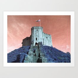 Cardiff Castle Keep-Wales Blue and Pink Art Print