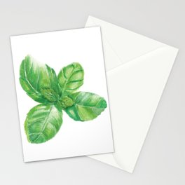Watercolor Basil Stationery Cards