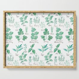 green herbs family watercolor Serving Tray