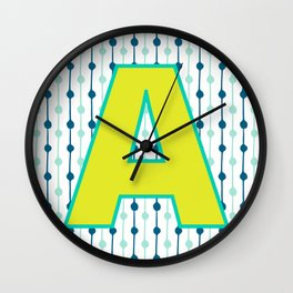 Letter A Monogram Blue, Green and Yellow with Pattern Wall Clock