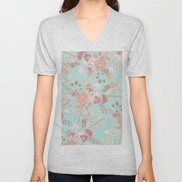 Vintage green pastel coral white rustic floral Unisex V-Neck