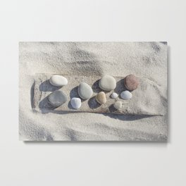 Beach pebble driftwood still life Metal Print