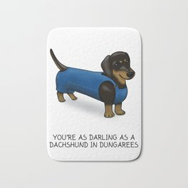 Darling Dachshund in Dungarees Bath Mat
