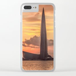 Silhouette Lakhta Center tower at sunset, St. Petersburg, Russia Clear iPhone Case