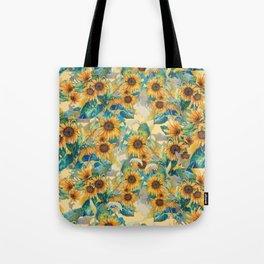 watercolor sun flowers garden Tote Bag