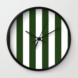 Large Dark Forest Green and White Circus Tent Stripes Wall Clock