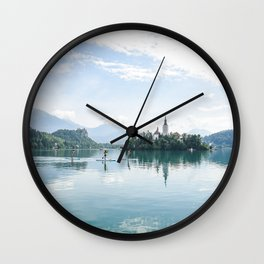 Paddle boarding on Lake Bled Wall Clock