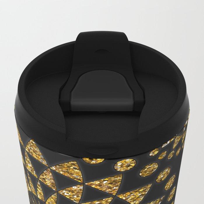Gold glamour faux glitter ornament shimmering black Metal Travel Mug