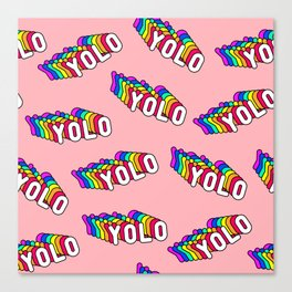 """Patches with rainbow words """"YOLO"""" (you only live once) Canvas Print"""