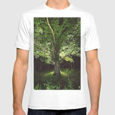 Branching into Illumination White MEDIUM Mens Fitted Tee