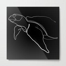 The Sea Turtle Line - White & Black Metal Print