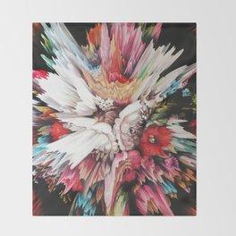Floral Glitch II Throw Blanket