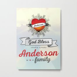 God Bless Anderson Family Heart Metal Print