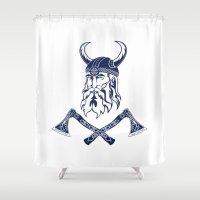 viking Shower Curtains featuring Viking by Spiro Vasilevski