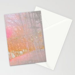 Landscape Forest Gray Orange Pink Abstract Art Stationery Cards