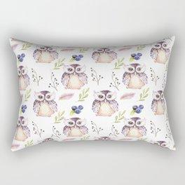 Watercolor Owl Pattern Rectangular Pillow