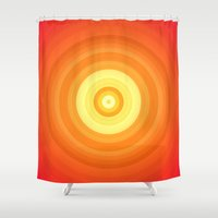 orange pattern Shower Curtains featuring Orange by Susann Mielke