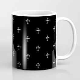 Silver 3-D look Christian Crosses on a Black Background Coffee Mug