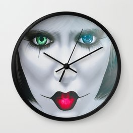 Harlequin Eyes Of A Different Color Wall Clock