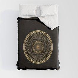 DEEM bright warm gold mandala on black Duvet Cover