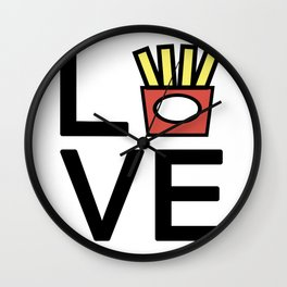Love Fries Cute And Funny Love Design Wall Clock