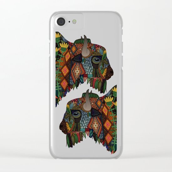 bison teal Clear iPhone Case
