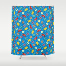 Fruit Salad Pool Floats Pattern – Blue Shower Curtain