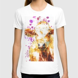 Watercolor Cow Painting, Cow Print, Cow Design, Watercolor Splatter T-shirt