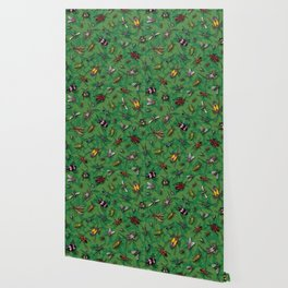Bugs & Insects on Green Floral Background Wallpaper