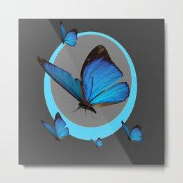NEON BLUE BUTTERFLIES  & CHARCOAL GREY PATTERN Metal Print