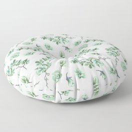 Pastel green watercolor modern orchid floral pattern Floor Pillow