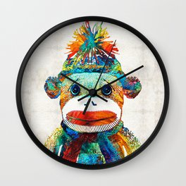 Sock Monkey Art - Your New Best Friend - By Sharon Cummings Wall Clock