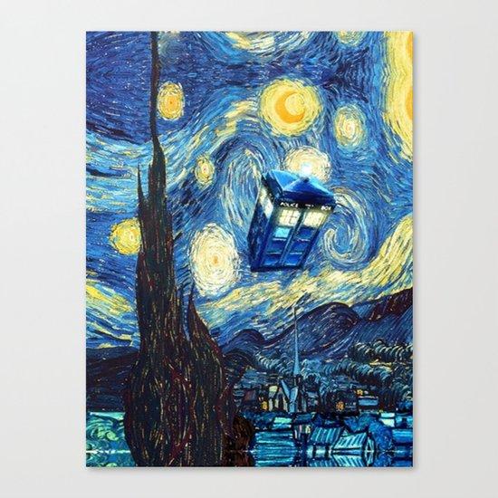 Tardis Doctor Who Starry Night Canvas Print