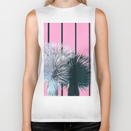 Yucca Plant in Front of Striped Pink Wall Biker Tank