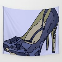 shoe Wall Tapestries featuring Blue sweet shoe -or....? by AstridJN