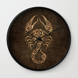 Vintage Rustic Scorpio Zodiac Sign Wall Clock