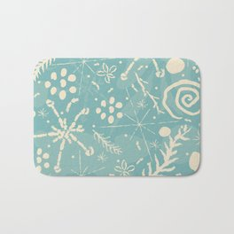 Winter Snowflakes and Doodles Bath Mat