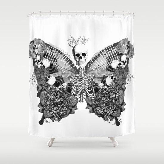 Curtains Ideas butterfly shower curtain : Skull Butterfly Shower Curtain by MJMarshall Design | Society6