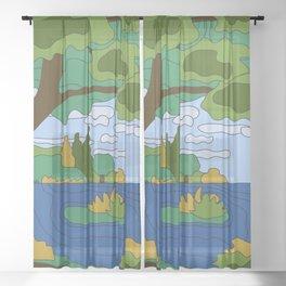 River Landscape Sheer Curtain
