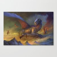 dragons Canvas Prints featuring Dragons by Oscar el bardo