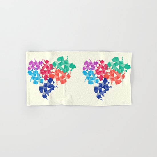 Background of geometric shapes. Colorful mosaic pattern Hand & Bath Towel