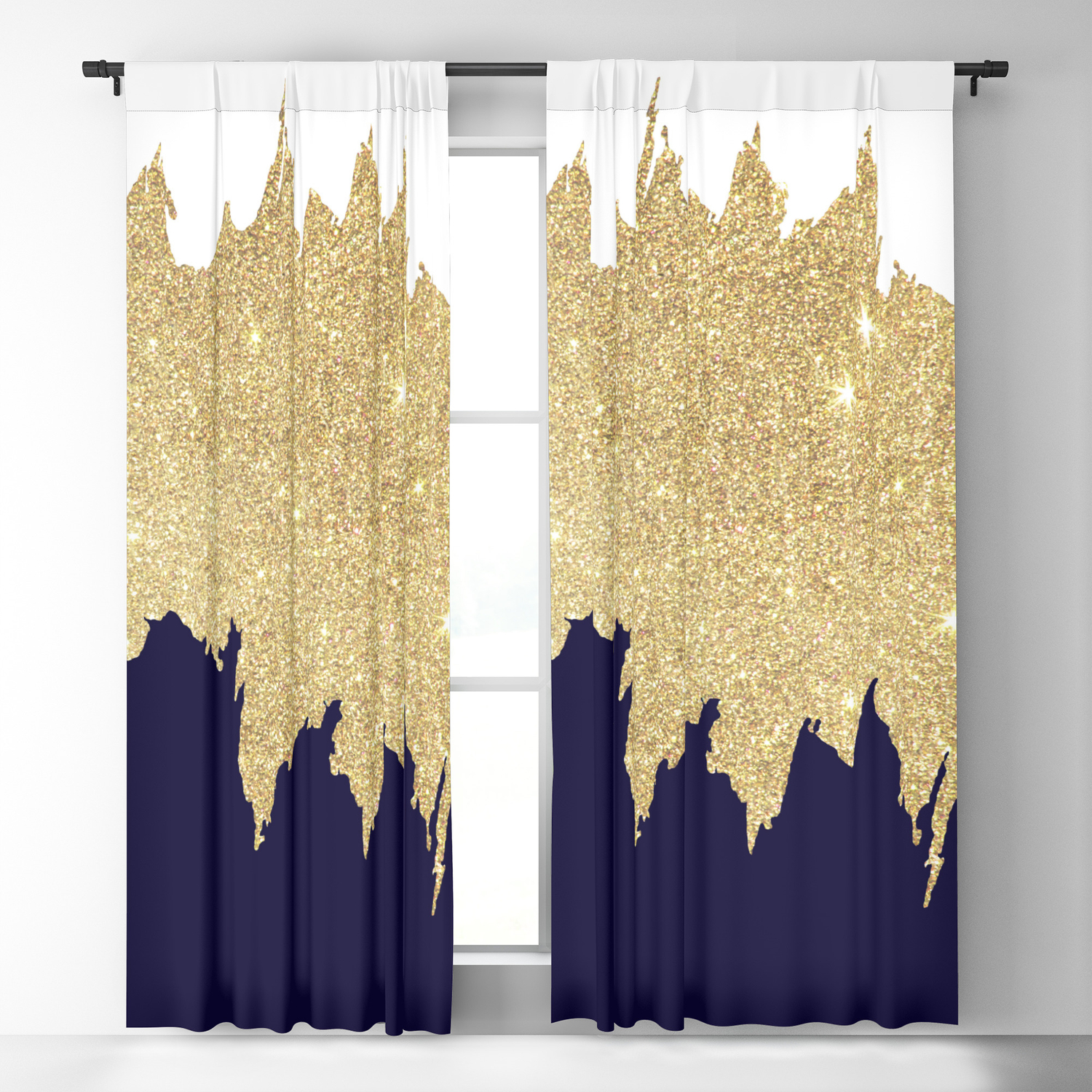 Modern navy blue white faux gold glitter brushstrokes Blackout