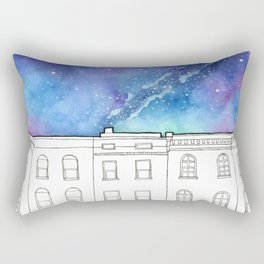 City Rowhomes Beneath A Night Sky Rectangular Pillow