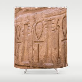 Karnak Temple Ankh carvings Shower Curtain