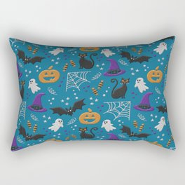 Halloween party illustrations teal modern realistic embroidery Rectangular Pillow