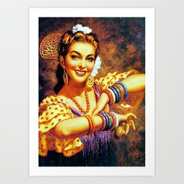 Jesus Helguera Painting of a Mexican Calendar Girl with Bangles Art Print